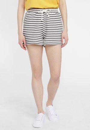 Swimming shorts - white aop w/ black