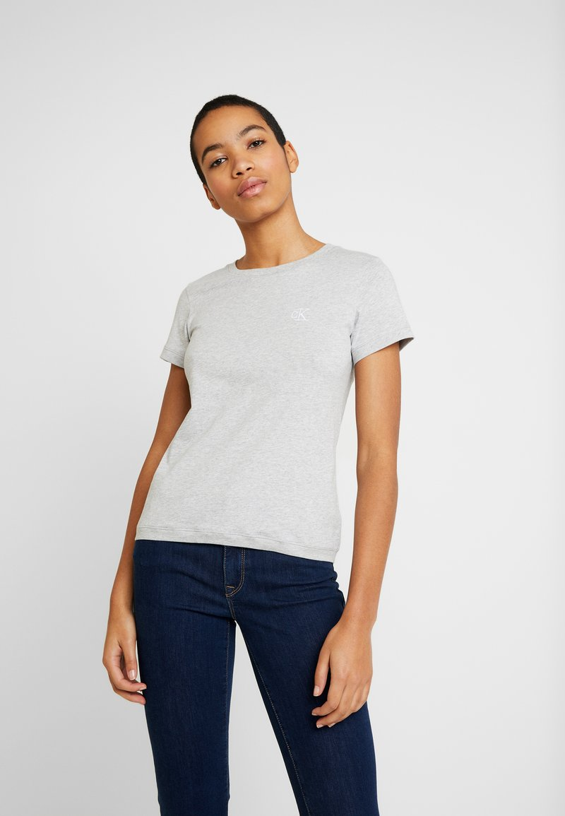 Calvin Klein Jeans - EMBROIDERY SLIM TEE - Camiseta básica - light grey heather