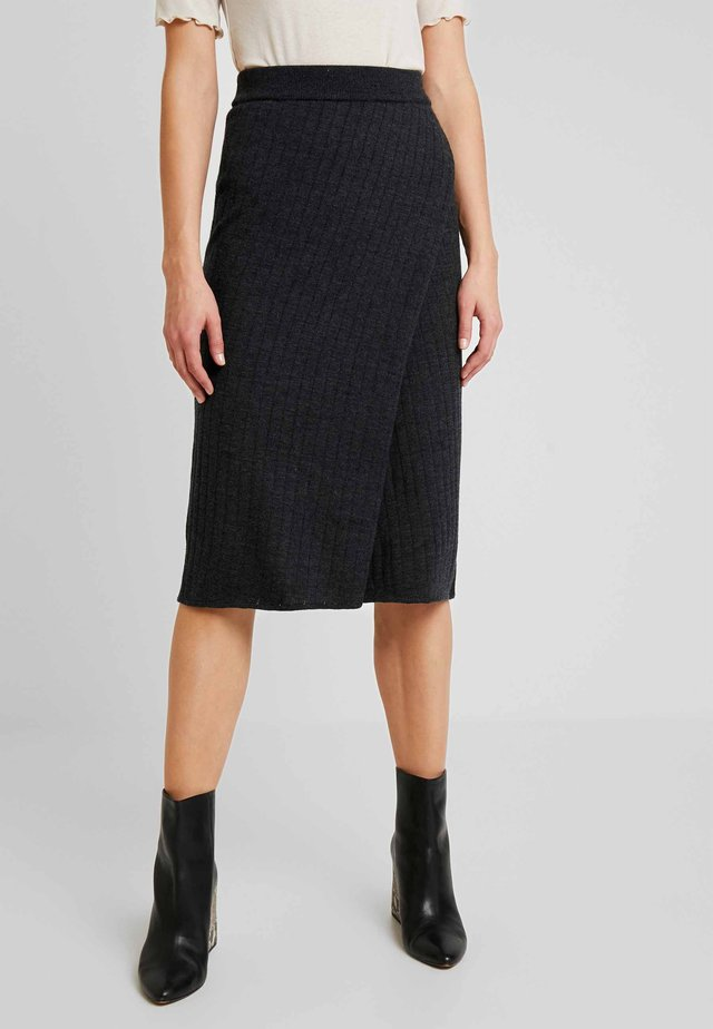RANDI SKIRT - Wrap skirt - dark grey melange