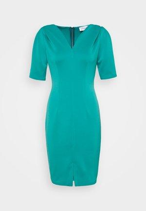 CLOSET V-NECK PLEATED SLEEVE DRESS - Jerseykjole - turquoise