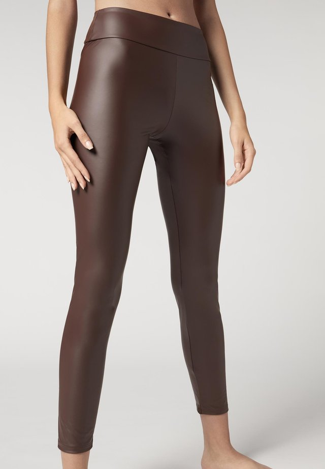 LEGGINGS MIT LEDER-EFFEKT - Leggings - Stockings - braun -c dark brown