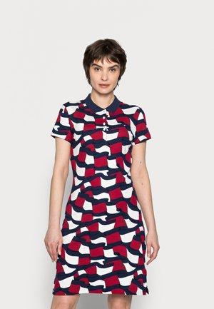 SLIM PRINTED SHORT POLO DRESS - Day dress - blue