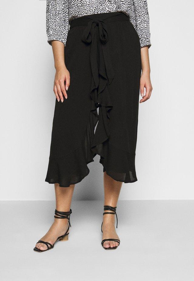 CRINKLE WRAP CROP TROUSER - Trousers - black