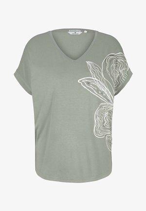 Print T-shirt - prairie grass green