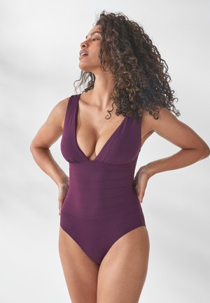 SCULPT AND SHAPE PINTUCK PLUNGE - Badpak - berry