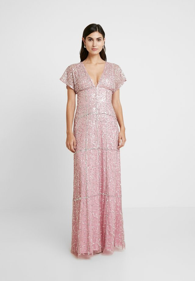 EMBELLISHED V NECK MAXI DRESS - Gallakjole - pink