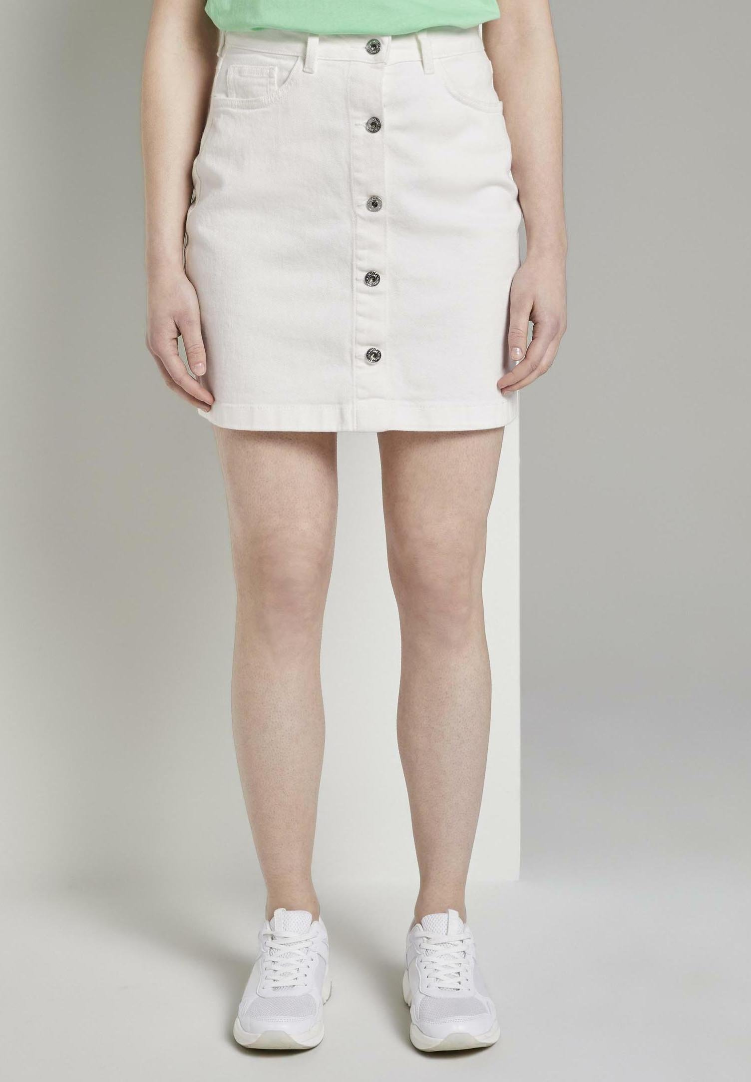 Femme MIT KNOPFLEISTE IN A-LINIE - Jupe en jean