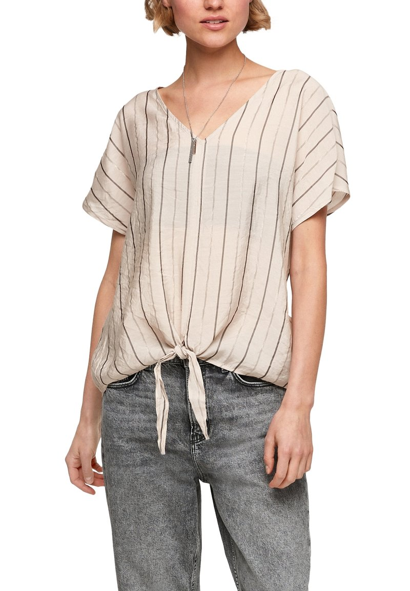 Q/S designed by - Blouse - beige stripes