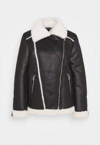 Miss Selfridge - CONTRAST AVIATOR LONGLINE - Faux leather jacket - black - 0