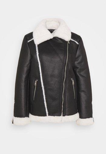CONTRAST AVIATOR LONGLINE - Faux leather jacket - black