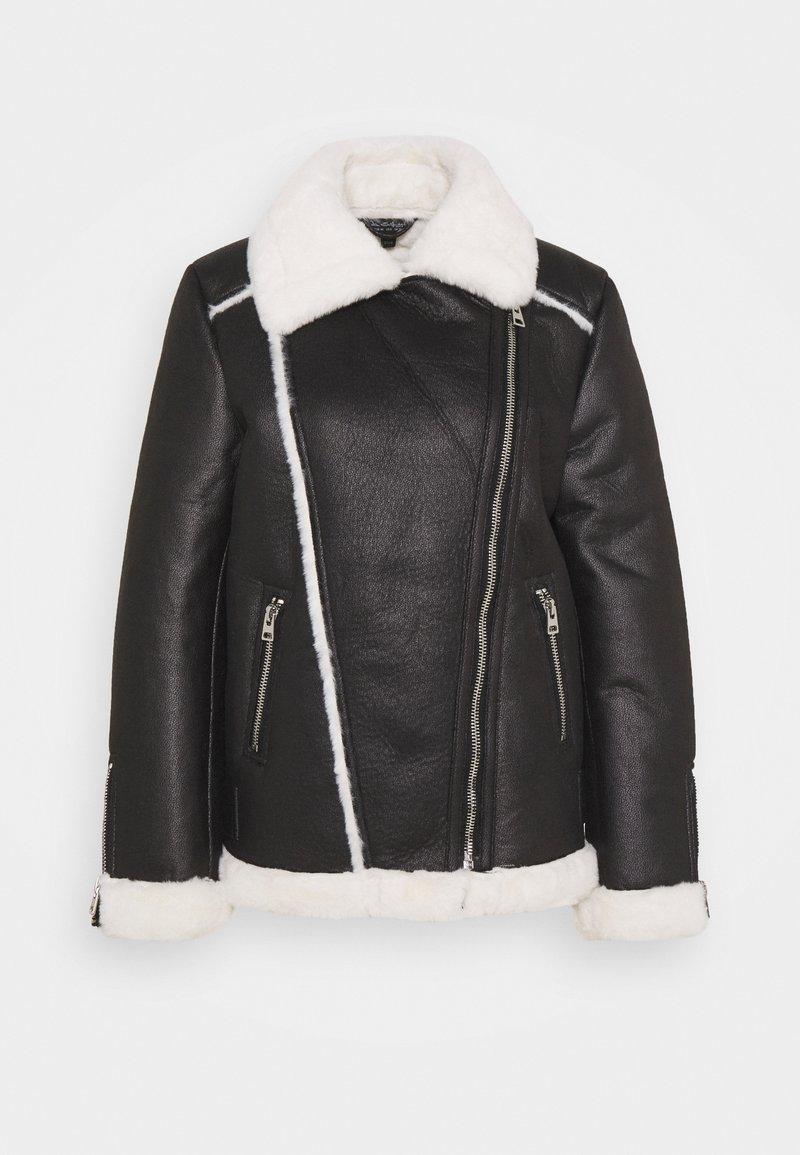 Miss Selfridge - CONTRAST AVIATOR LONGLINE - Faux leather jacket - black