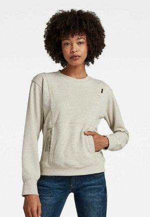GRAPHIC POCKET TWEATER - Long sleeved top - ecru