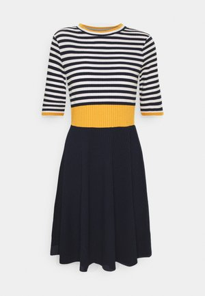 STRIPE DRESS - Strikket kjole - yellow