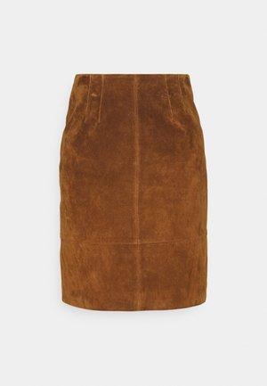 VIFAITH NEW SKIRT - Kožená sukně - oak brown