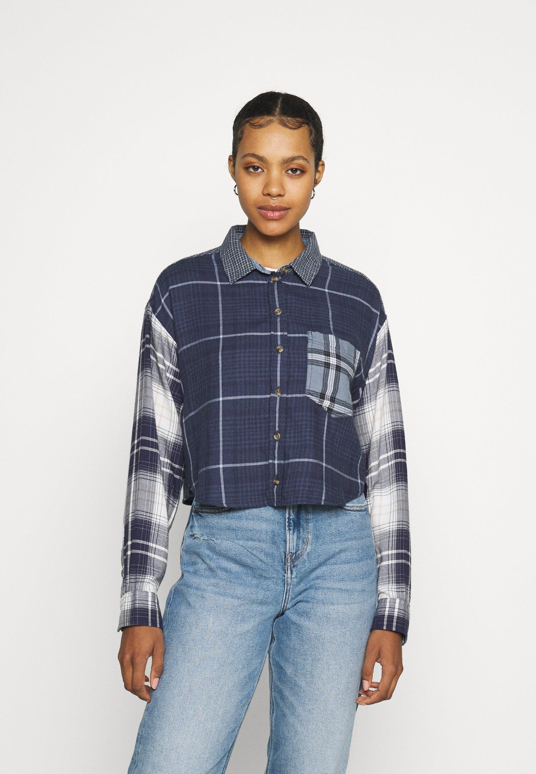 Women PLAID MIX CROP MURPHY - Button-down blouse