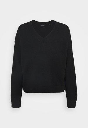 LONGSLEEVE V NECK CROPP - Sweter - black