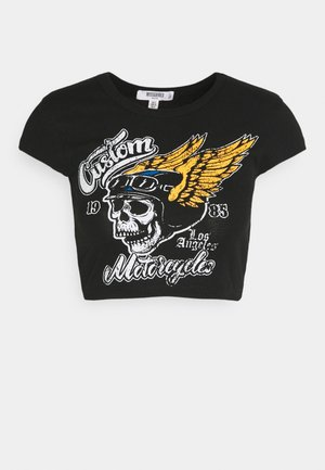 CUSTOM MOTORCYCLE GRAPHIC CROP - Print T-shirt - black
