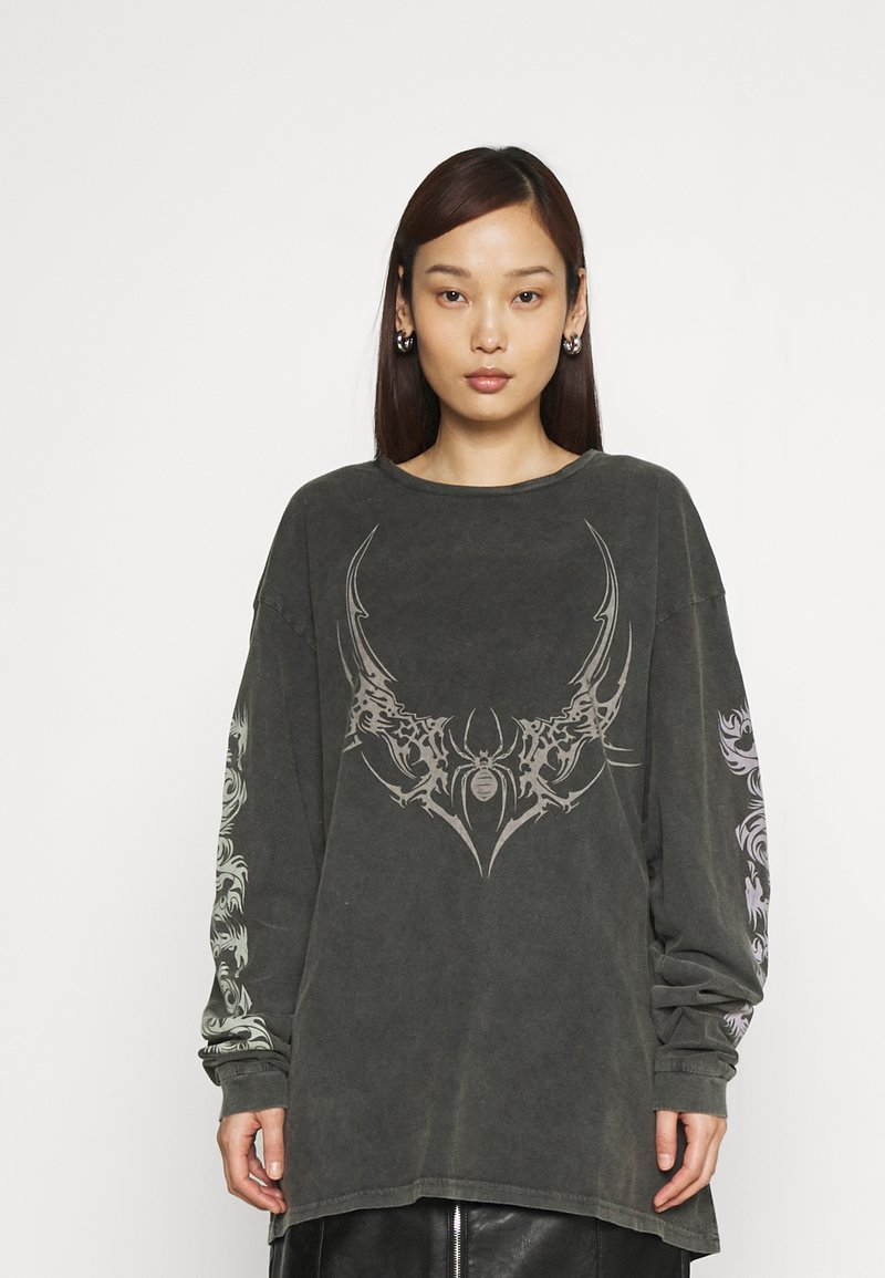 NEW girl ORDER - TRIABL SPIDER ACID WASH - Long sleeved top - charcoal