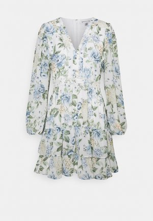 MAE LONG SLEEVE RUFFLE MINI DRESS - Sukienka letnia - provincial blue