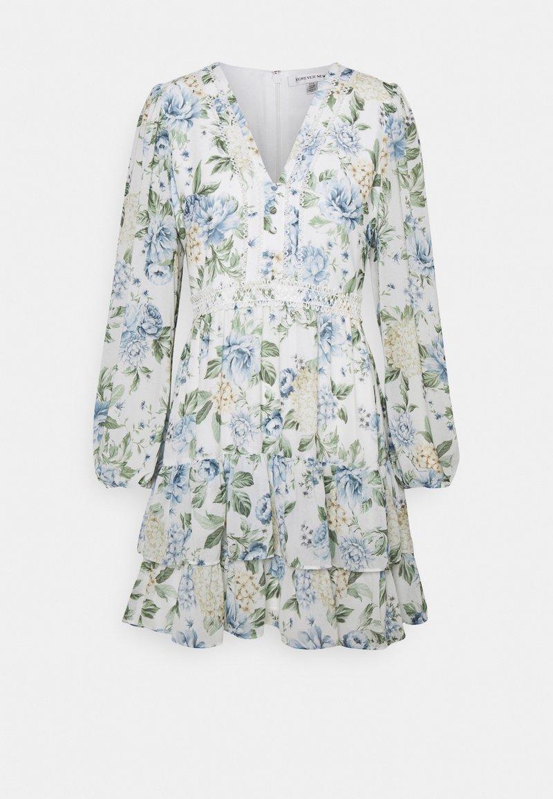 Forever New - MAE LONG SLEEVE RUFFLE MINI DRESS - Robe d'été - provincial blue