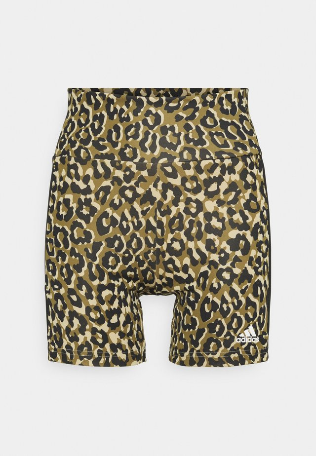 ADIDAS DESIGNED TO MOVE AEROREADY LEOPARD PRINT SHORT TIGHTS - Punčochy - hazy beige/black