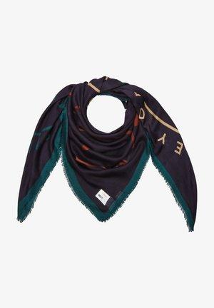 Sjaal - dark blue placed print