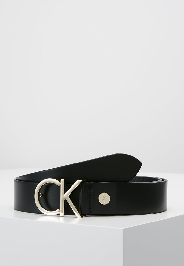 Calvin Klein - LOGO BELT - Belt - black/light gold-coloured