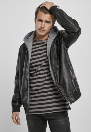 MÄNNER - Faux leather jacket - black/grey