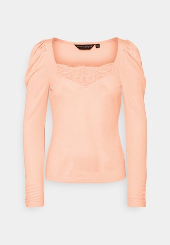 TRIM RUCHED SLEEVE - Long sleeved top - light camel