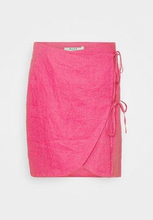 OVERLAP LINEN SKIRT - Mini skirt - pink
