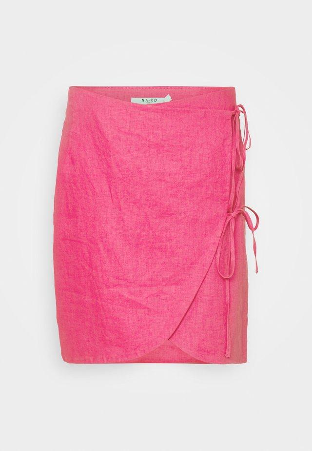 OVERLAP LINEN SKIRT - Minirock - pink