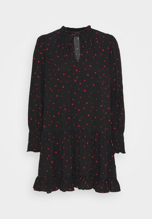 HEART PRINT SMOCK MINI DRESS - Robe d'été - black