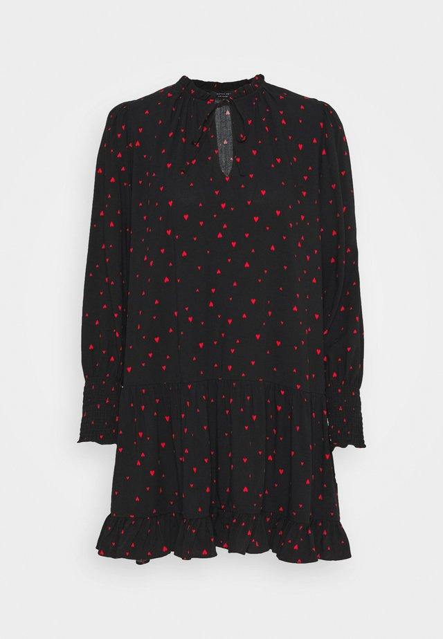 HEART PRINT SMOCK MINI DRESS - Vestido informal - black