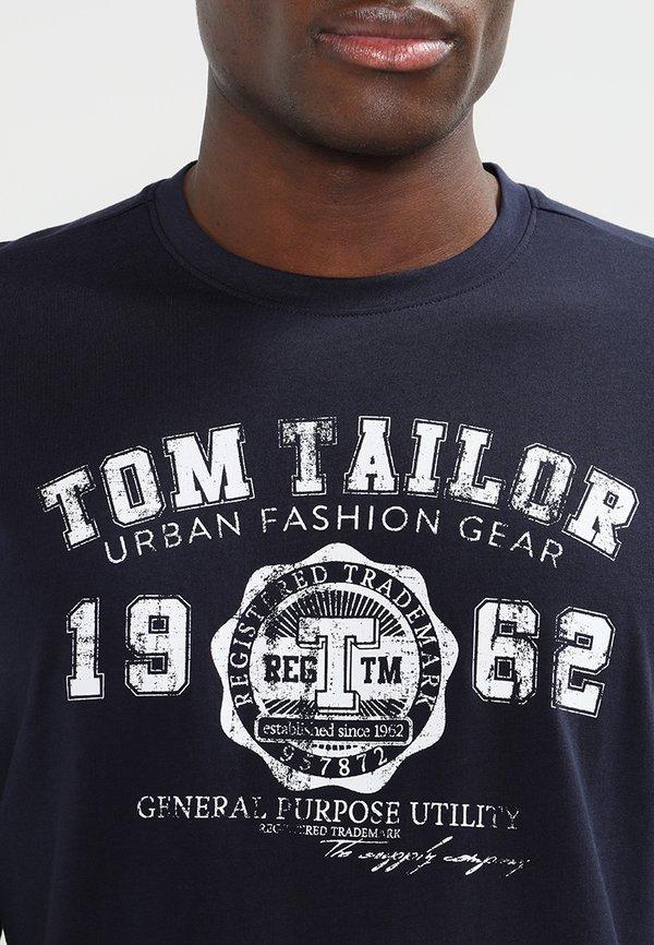 TOM TAILOR LONGSLEEVE PRINT TEE - Bluzka z długim rękawem - navy/granatowy Odzież Męska YLPC
