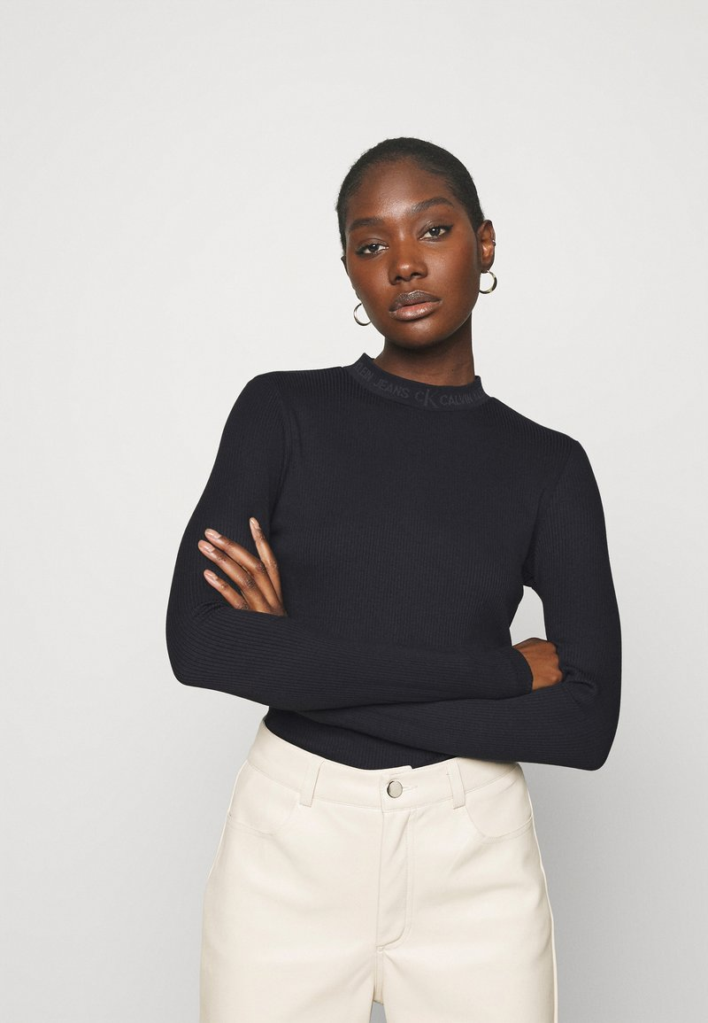 Calvin Klein Jeans - LOGO LONG SLEEVES - Long sleeved top - black