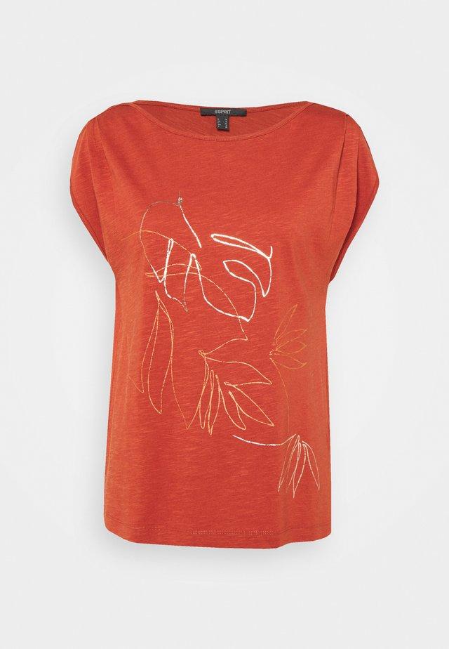 LINE - T-shirt z nadrukiem - terracotta
