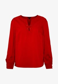 CREW NECK BASIC BLOUSE WITH EYELETS DETAILS IN COLLAR - Blůza - red