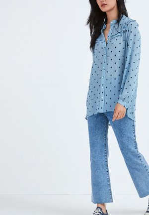 LONGLINE FLOWER EMBROIDERY - Button-down blouse - blue