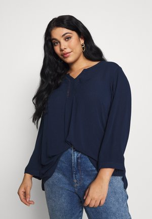BLOUSE WITH CROCHET DETAIL - Blus - navy