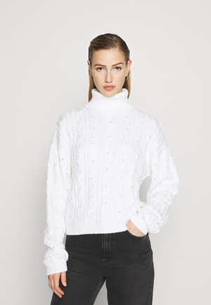 COSTELLO PEARL EMBELLISHED CABLE JUMPER - Jersey de punto - cream