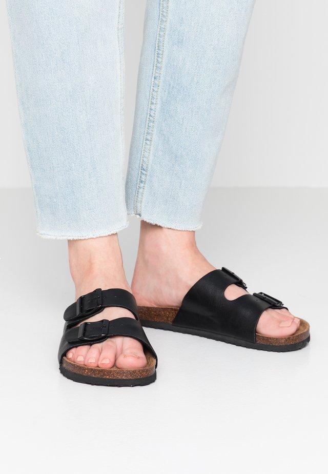 REX DOUBLE BUCKLE SLIDE - Pantoffels - black