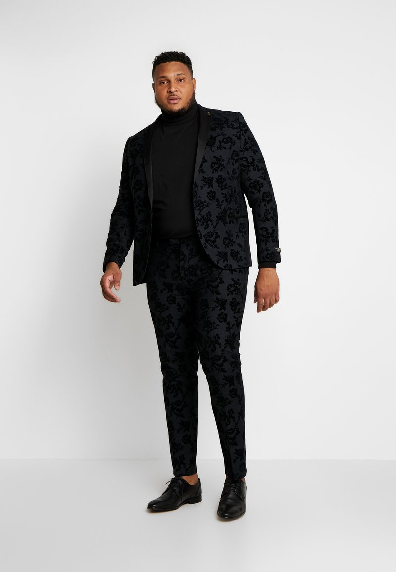 Twisted Tailor - KATRIN FLORAL FLOCK SUITPLUS - Suit - charcoal