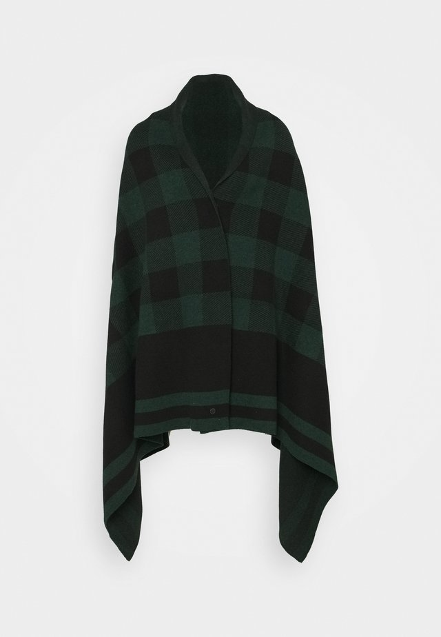 BLANKET CHECK - Poncho - black/pine