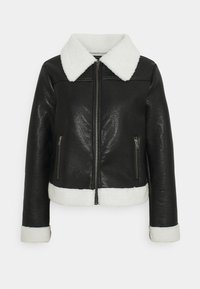 Who What Wear - ZIP FRONT JACKET - Faux leather jacket - black/cream - 4