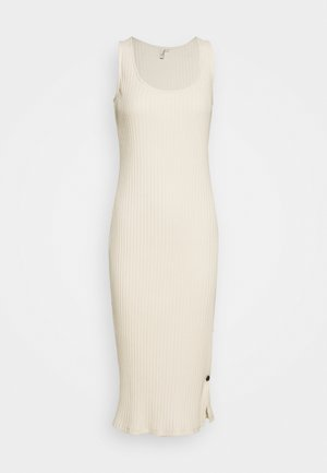 SIDE BUTTON MIDI DRESS - Jerseykjole - creme