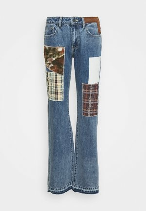 MID RISE BOYFRIEND FIT PATCHWORK CHECK APPLIQUE - Jeans relaxed fit - multi