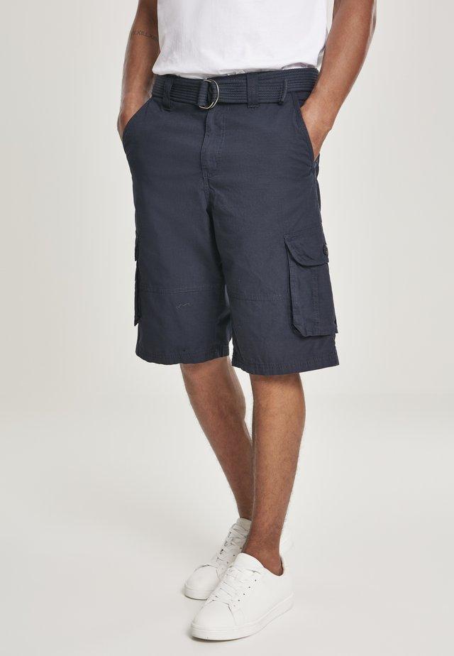 HERREN BELTED CARGO SHORTS RIPSTOP - Shorts - blue