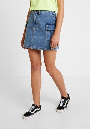 CARGO SKIRT - Denim skirt - bleach
