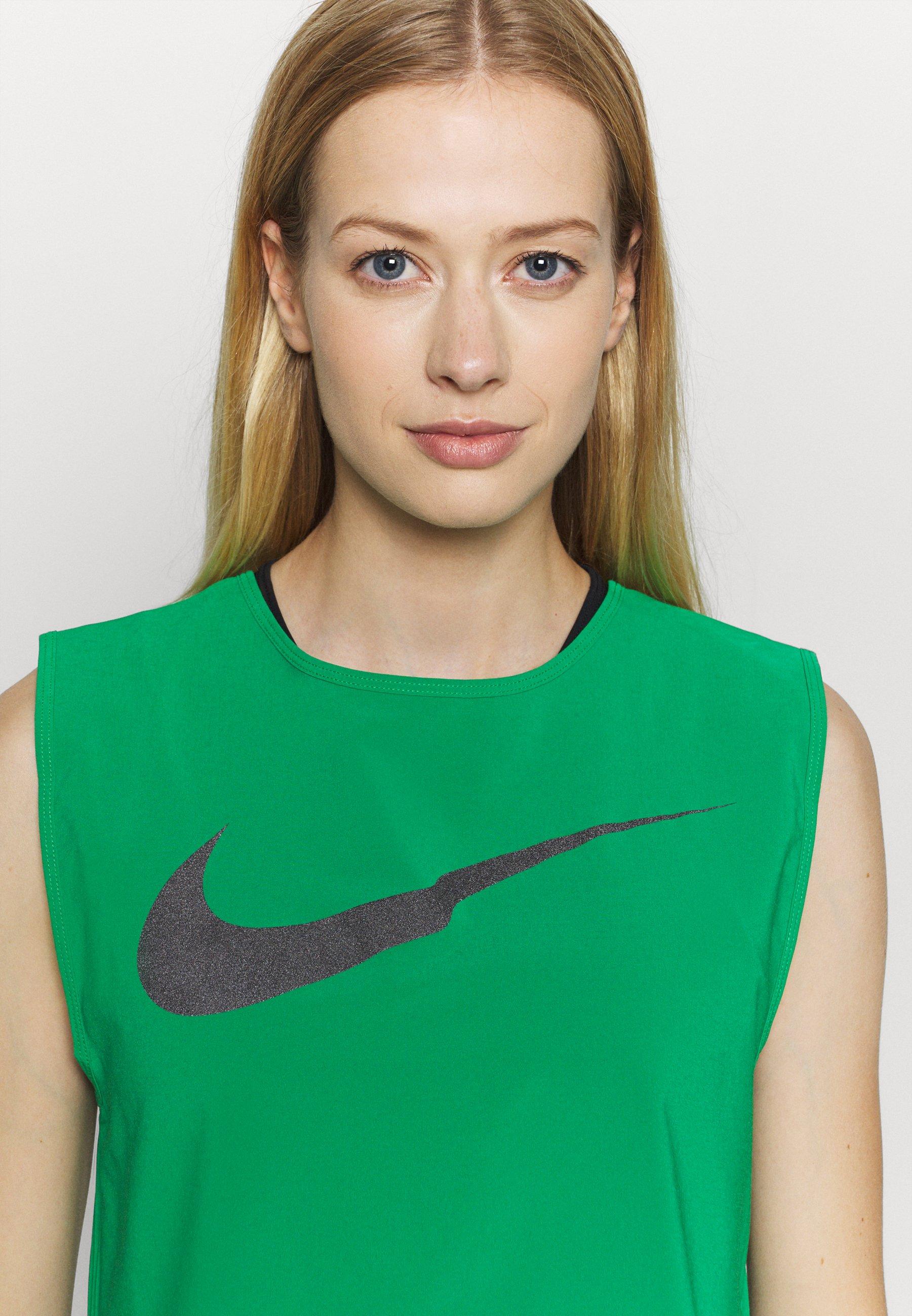 Nike Performance RUN TANK PLEATED - Sports shirt - lucky green/black FPrhG