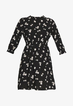 BLACK DAISY HIGH NECK SHIRRED WAIST - Day dress - black